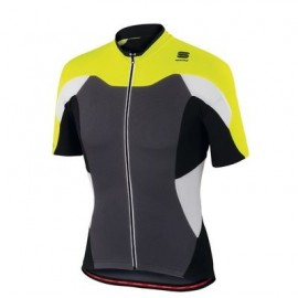 Fietsshirt Sportful Crank Jersey anthraciet/yellow fluo/black XL